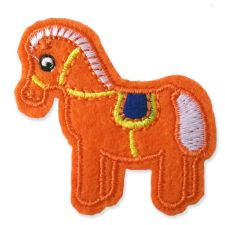 ORANGE PONY MOTIF IRON ON EMBROIDERED PATCH APPLIQUE